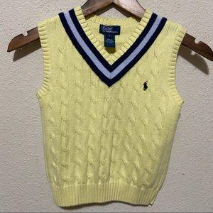 Polo Ralph Lauren Yellow Stripe V Neck Vest 6 Boys